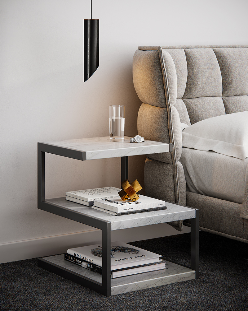 casablanca manhattan marble side table