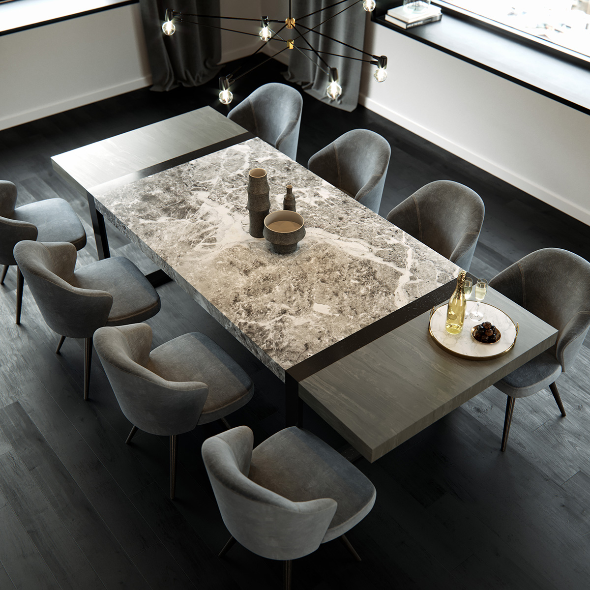 casablanca palette marble dining table