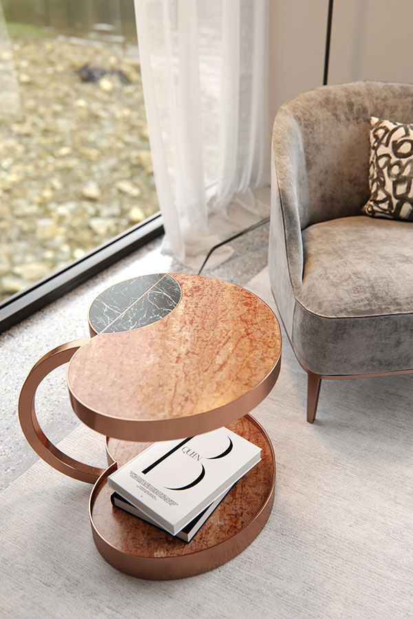 casablanca forbidden fruit marble side table